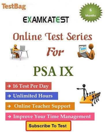 Psa online test class 9