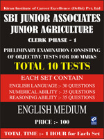 SBI junior associates junior agriculture clerk phase 1 | 10 Mock Test